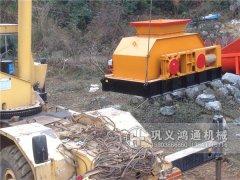 河卵石对辊破碎机生产现场